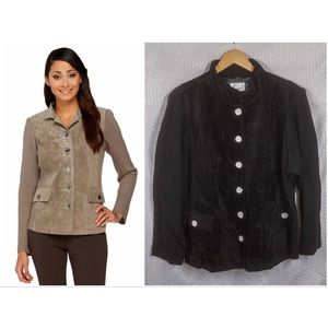 Suede Jacket with Knit Sleeves, 26W NWT Black